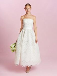 Oscar De La A Ballerina Length Wedding Dress