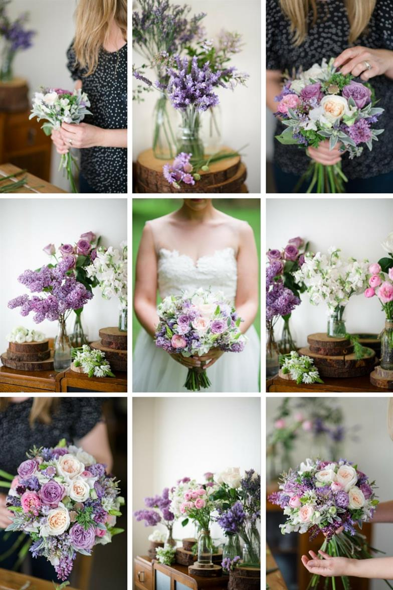 The Prettiest Vintage Bridal Bouquet of Purples & Pink