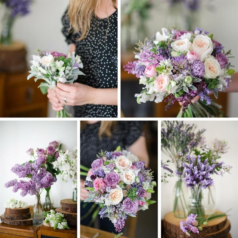 A Romantic Spring Bridal Bouquet in Purple & Pink : Chic Vintage Brides