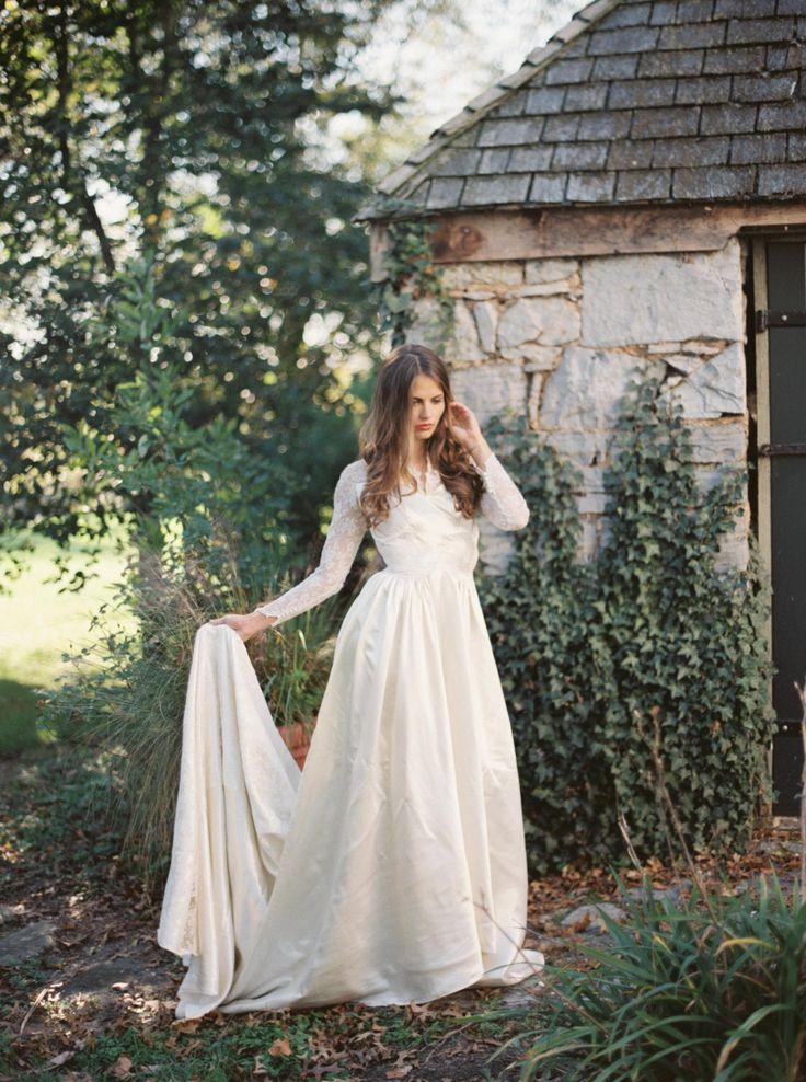1950s Long Sleeve Wedding Dress Under $1000
