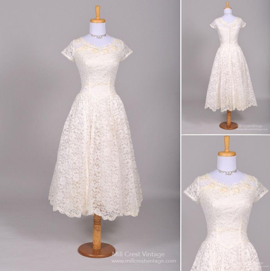 1950s Tea Length Lace Wedding Dress Under $1000