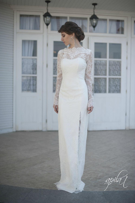 Long Sleeve Lace Wedding Dress Under $1000