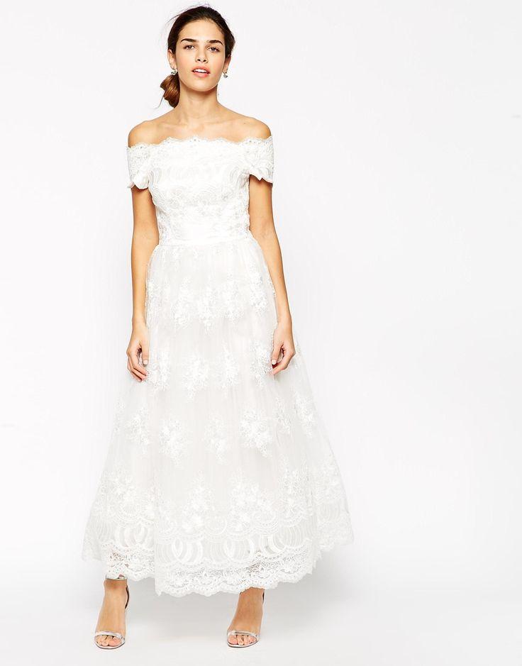 Tea Length Off Shoulder Wedding Dress