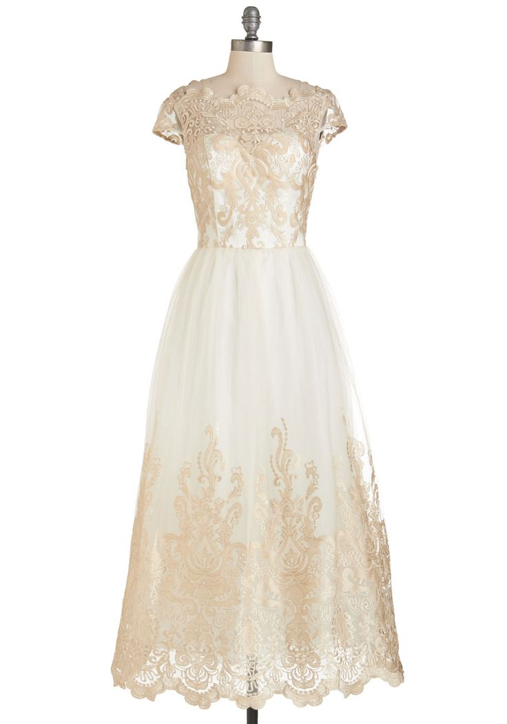 439f2b96d8a Gold Lace Wedding Dress Under  500 Sparkling Celebration Dress – Modcloth. Tea  Length Wedding Dress