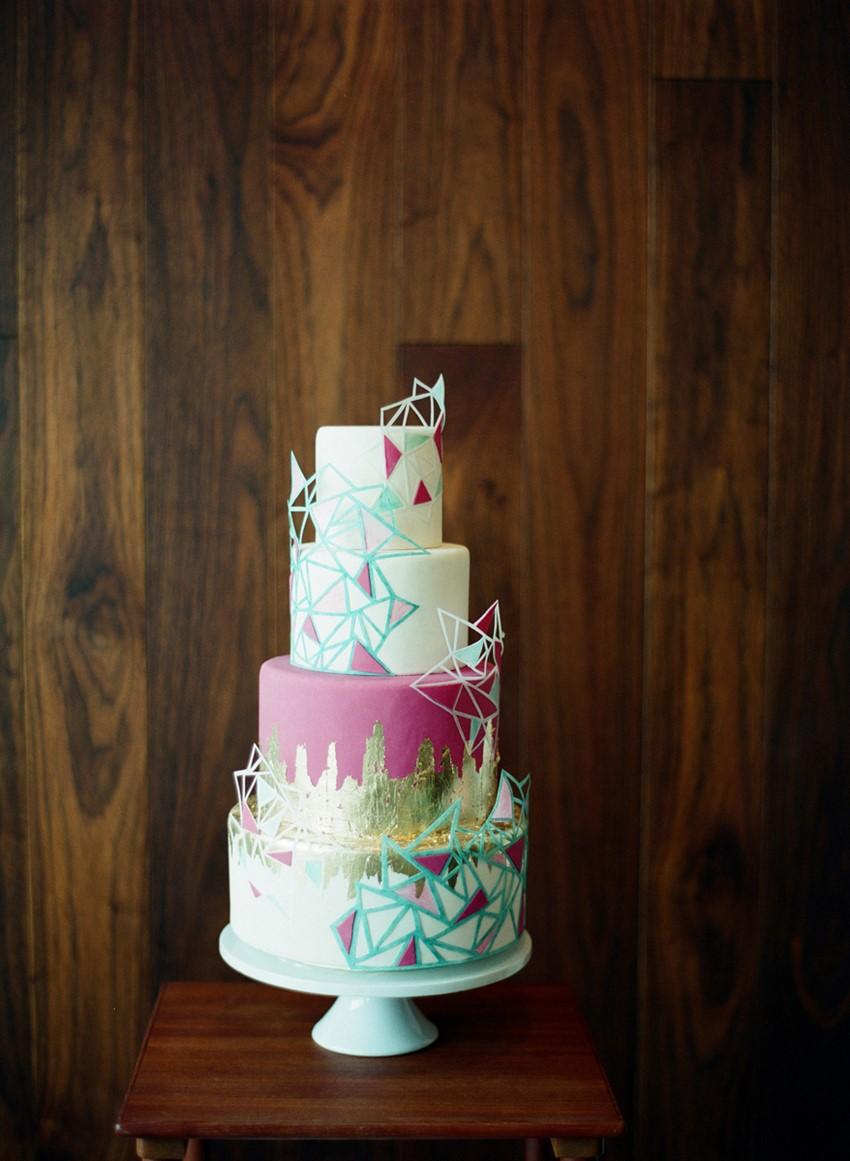 Geometric Wedding Cake - Mid-Century Wedding Inspiration