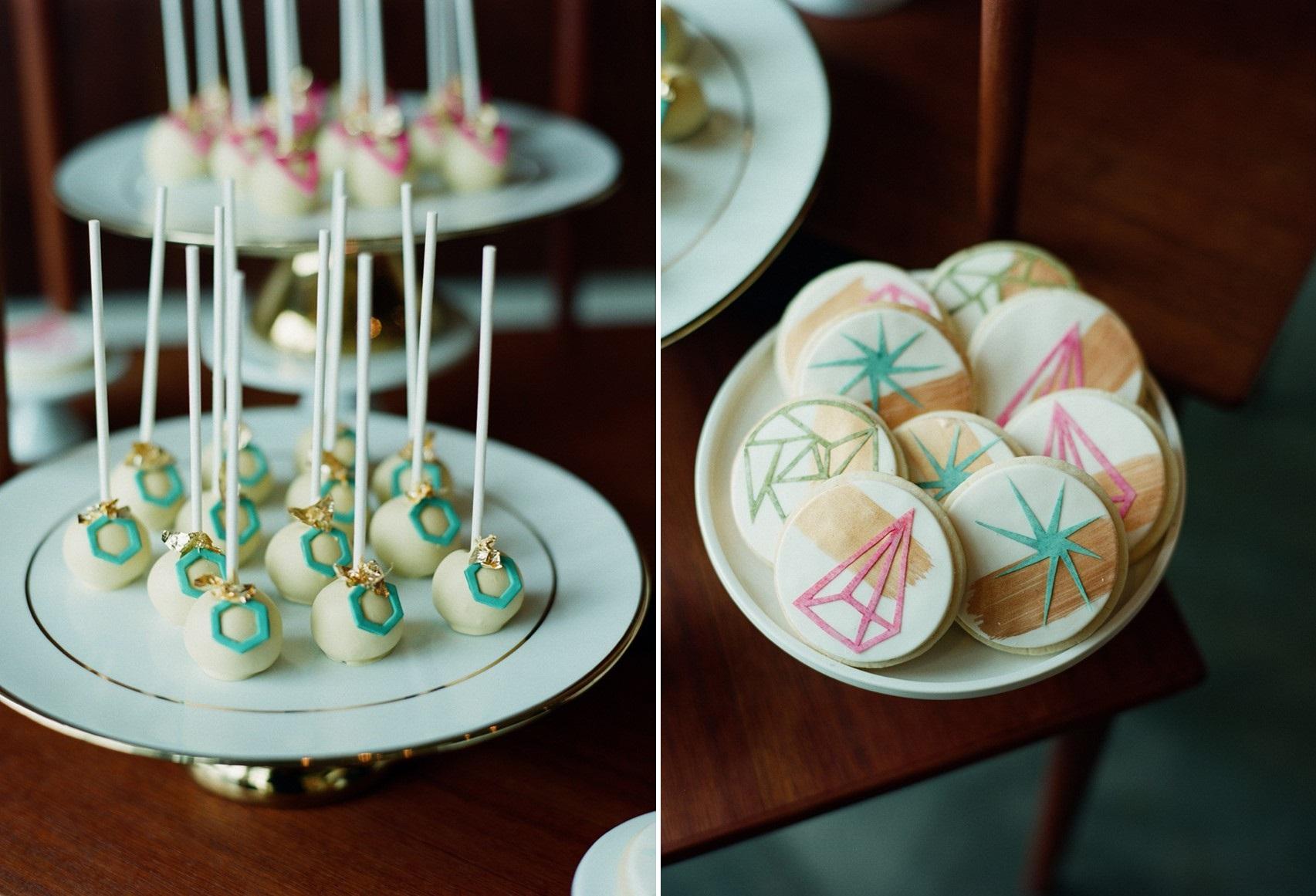 Geometric Wedding Cake Pops - Mid-Century Wedding Inspiration