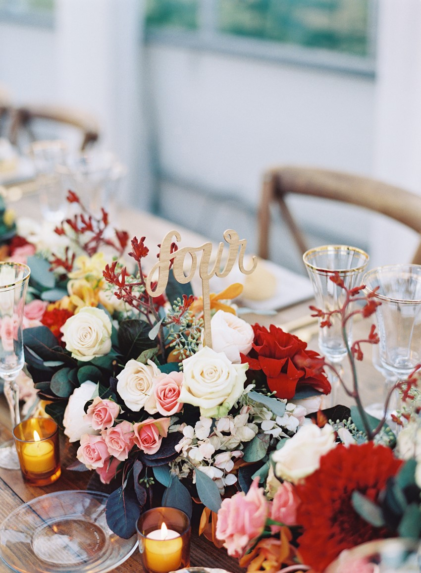 Floral Centrepiece and Wedding Table Number - An Elegant & Intimate Autumn Wedding