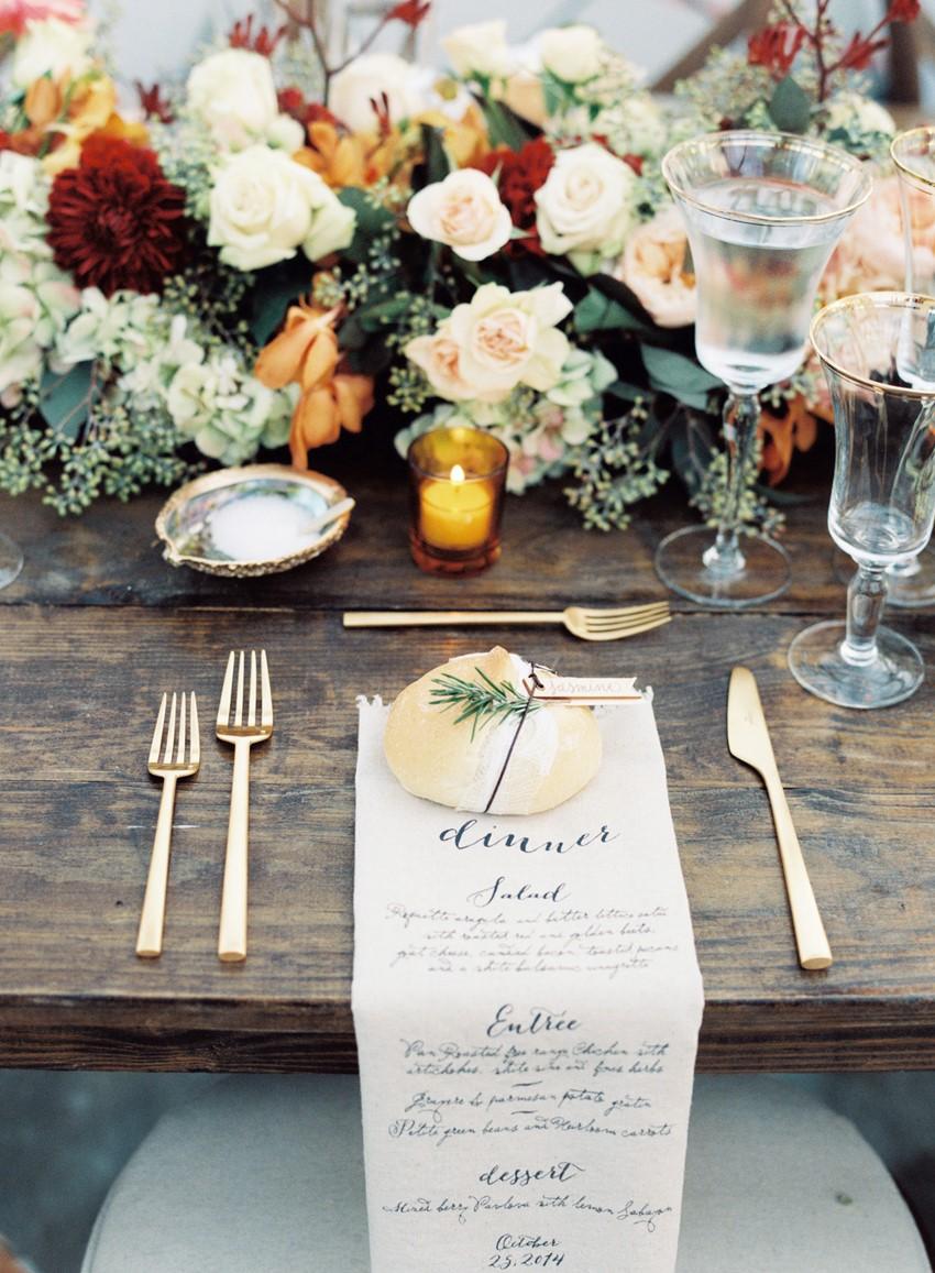 Autumn Wedding Place Setting - An Elegant & Intimate Autumn Wedding