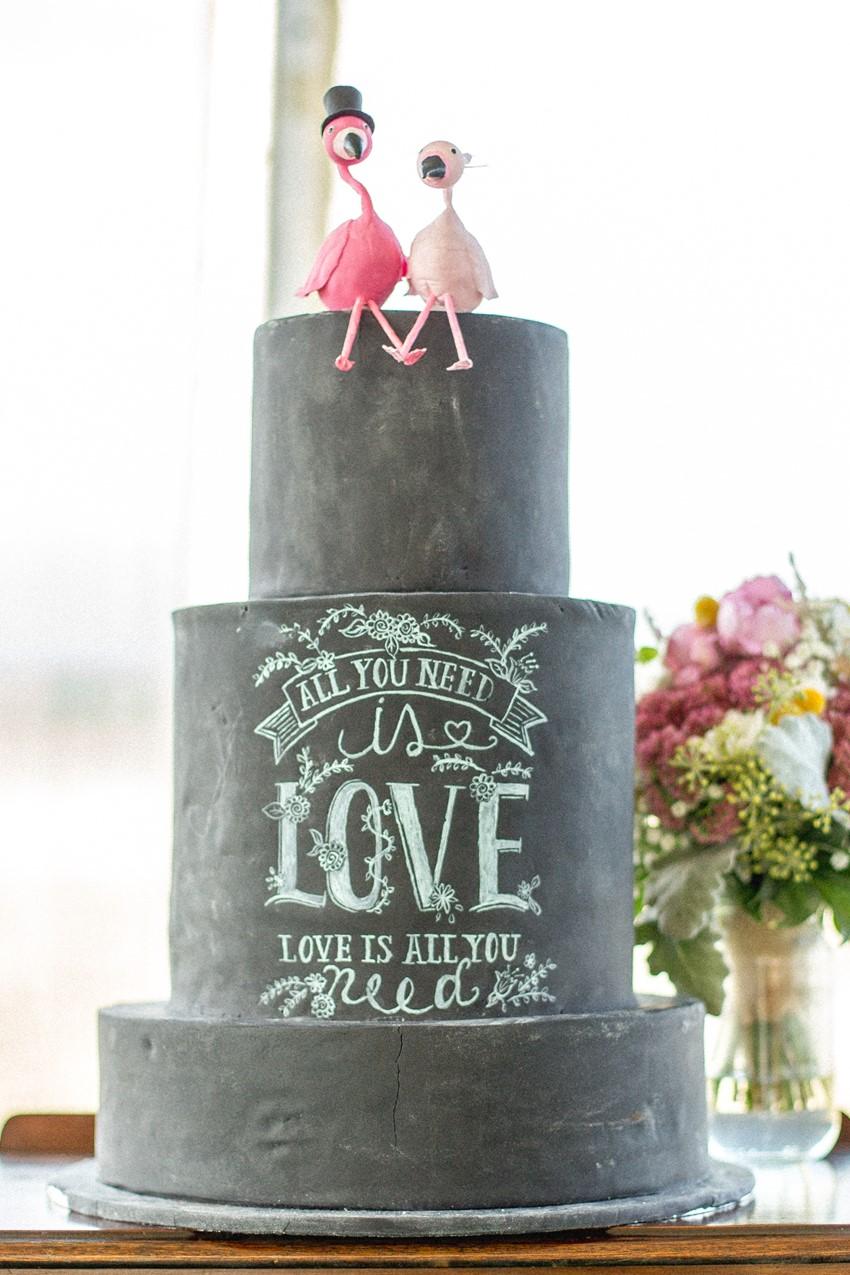 Blackboard Wedding Cake + Flamingo Wedding Cake Toppers