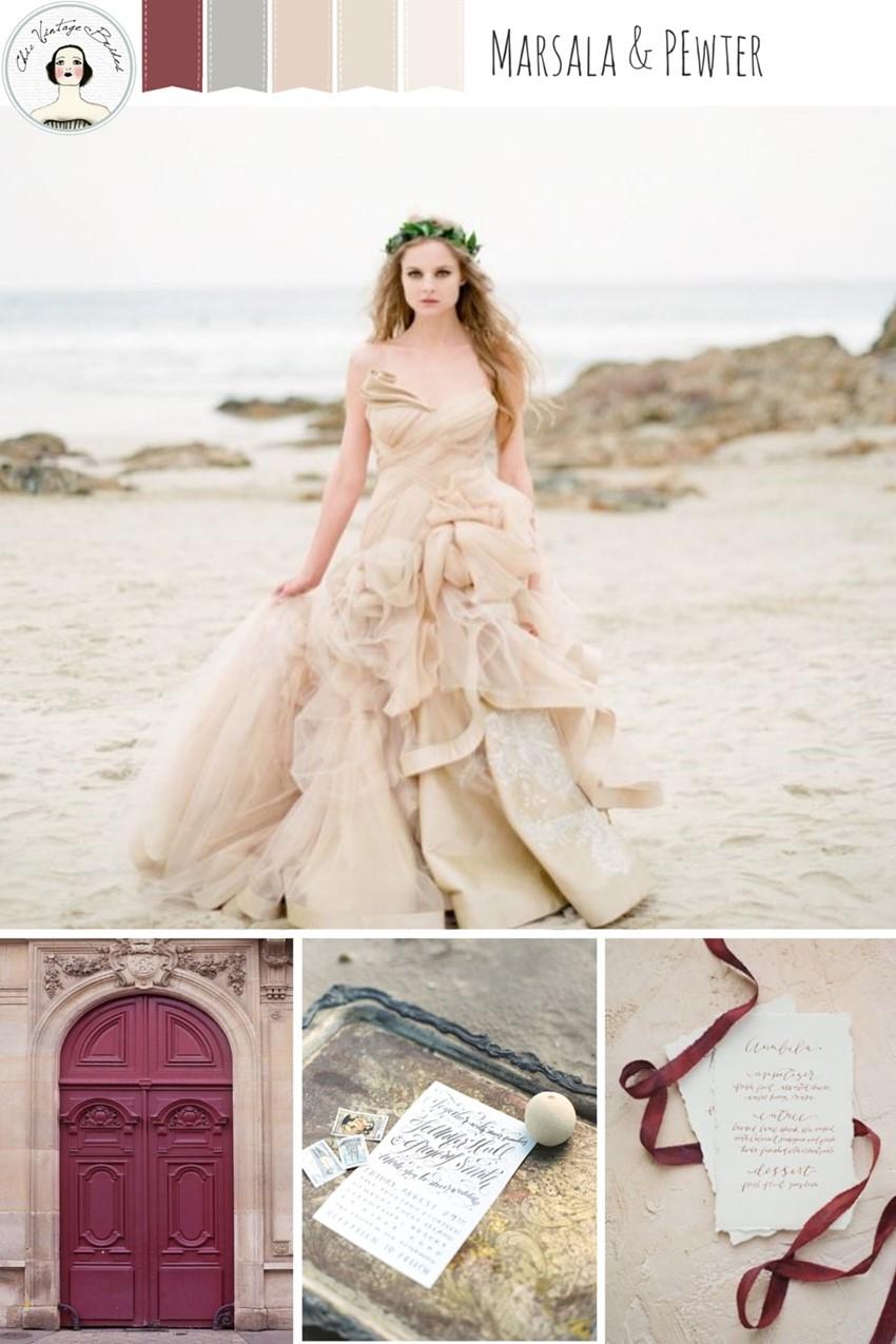 Marsala & Pewter - Beach Wedding Inspiration in an Elegant Colour Palette