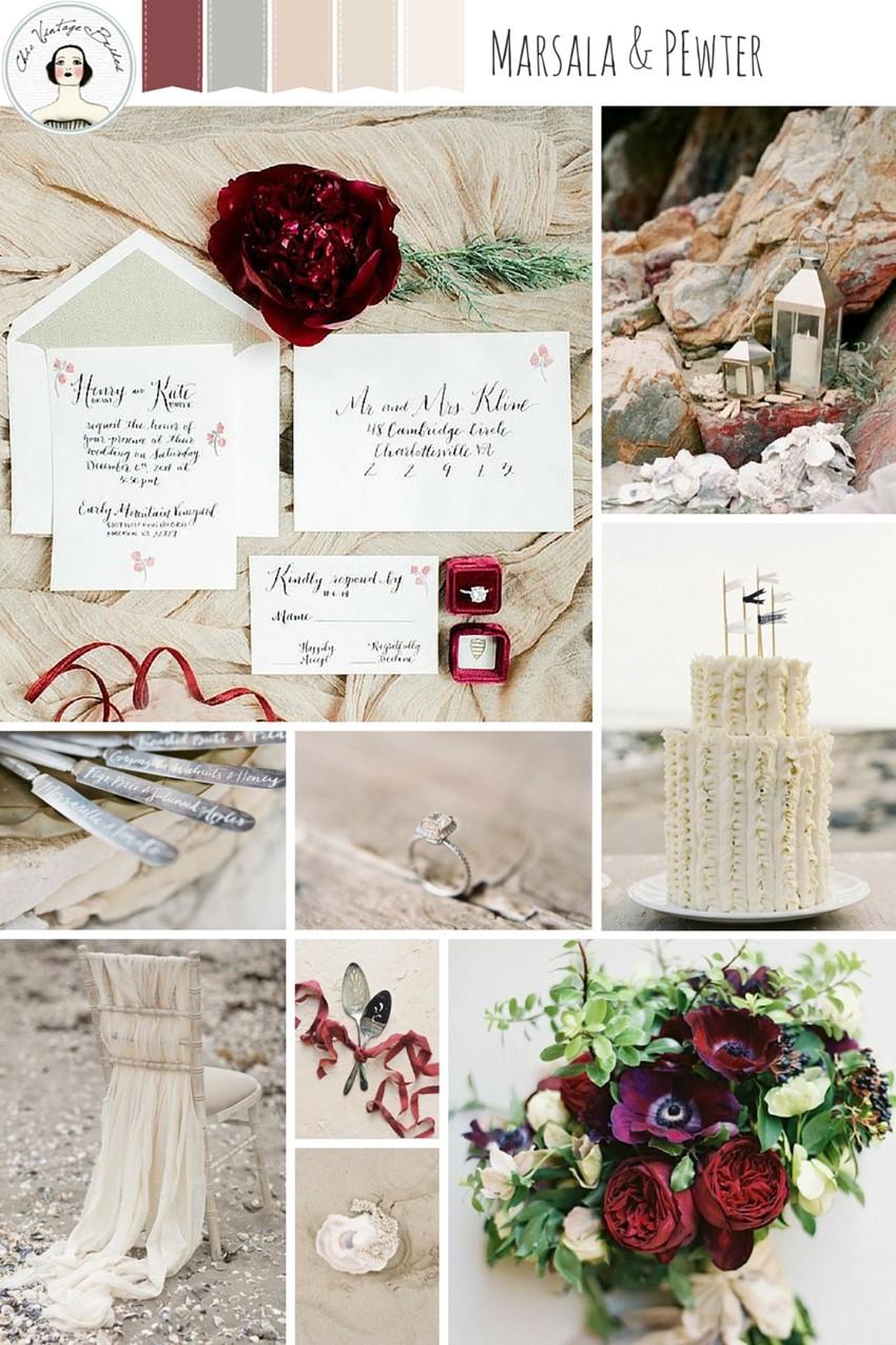 Marsala & Pewter - Beach Wedding Inspiration in an Elegant Colour Palette of Marsala, Pewter, Blush & Sand