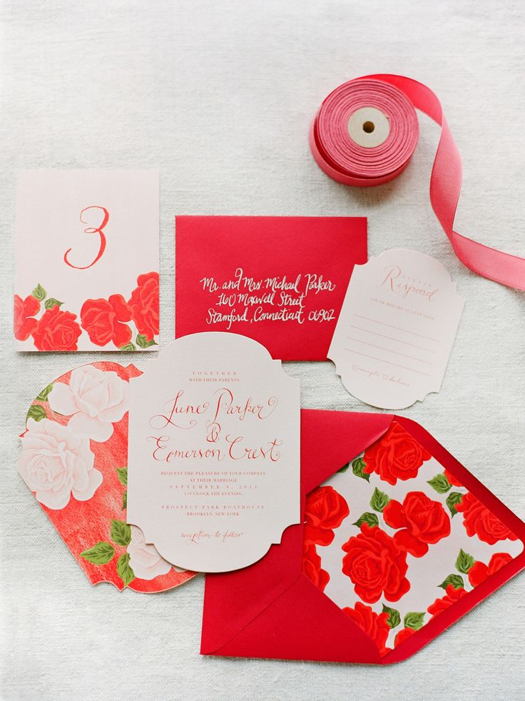 5 Gorgeous Summer Rose Wedding Invitations