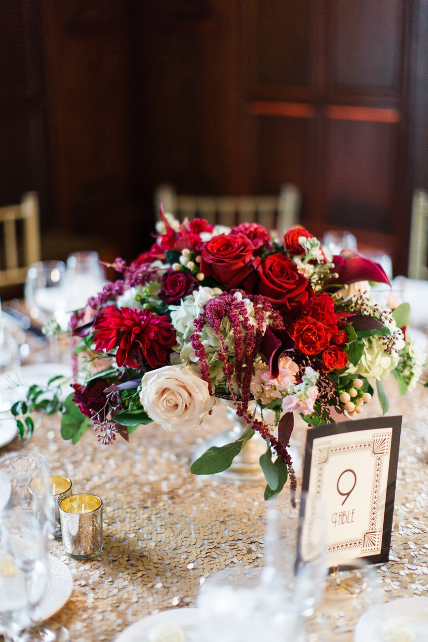 A Classically Elegant Art Deco Wedding in Marsala & Gold
