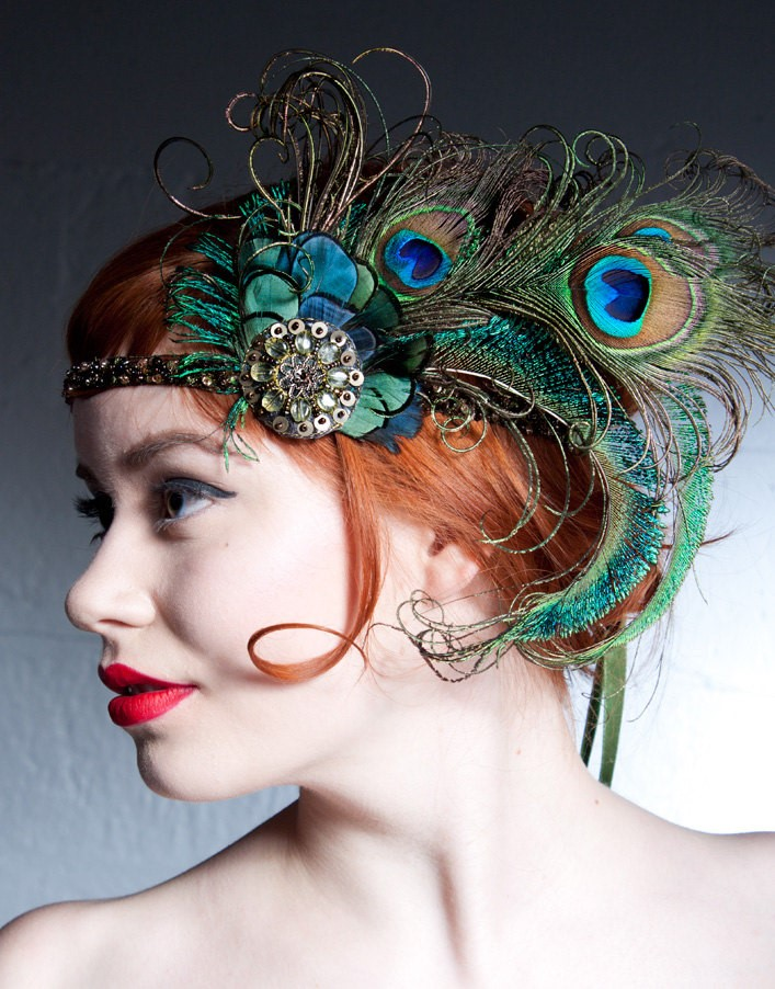 Peacock Bridal Headpiece from Baroque & Roll