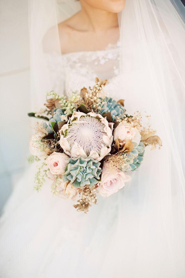 A King Protea Bridal Bouquet For A Destination Wedding Chic