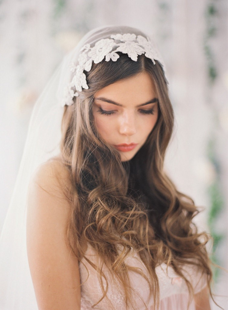 Beaded Lace Juliet Cap Veil by January Rose