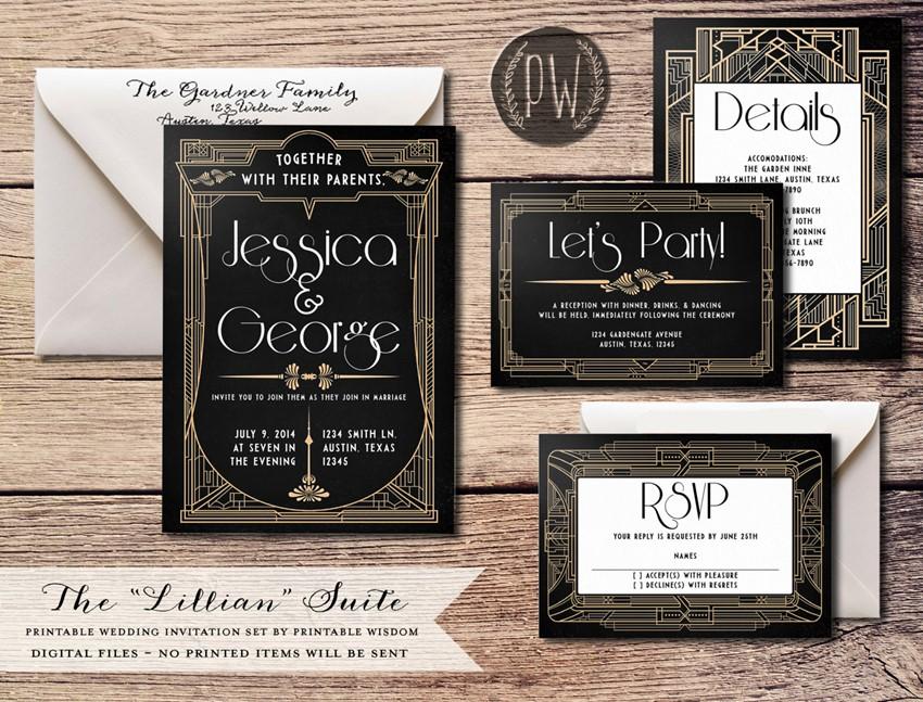 20 Decadently Art Deco Wedding Invitations