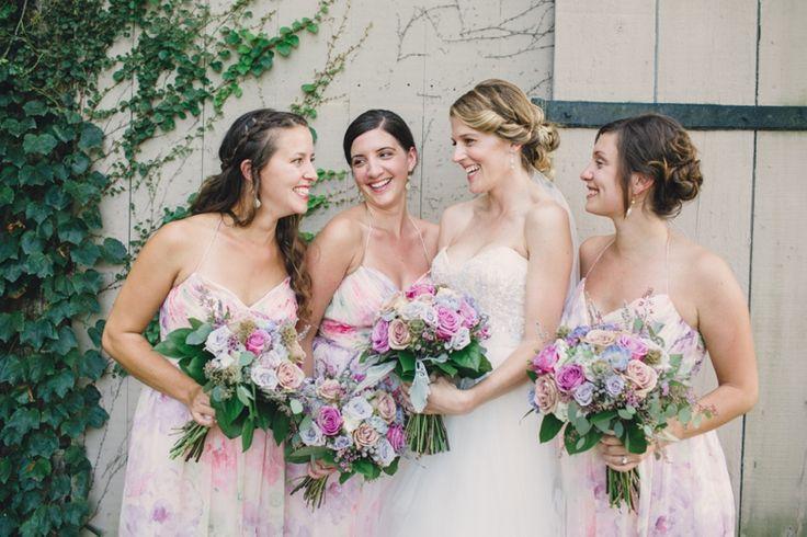 5 Stunning Modern Vintage Summer Bridesmaids Looks - Watercolour Prints