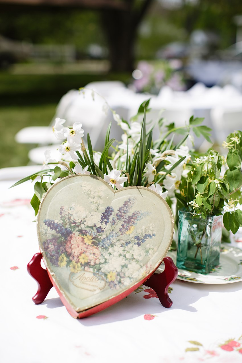 Vintage centrepiece - A Vintage Garden Wedding