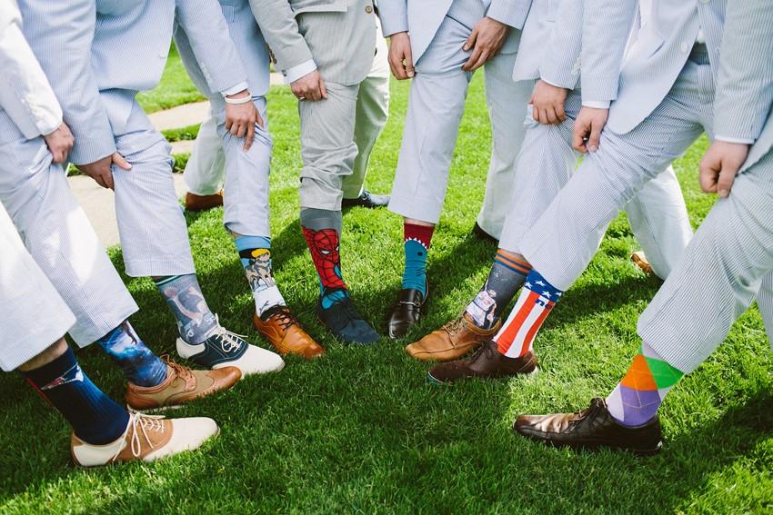 Superhero Groom & Groomsmen Socks -A Romantic Vintage Wedding With Pops of Pink