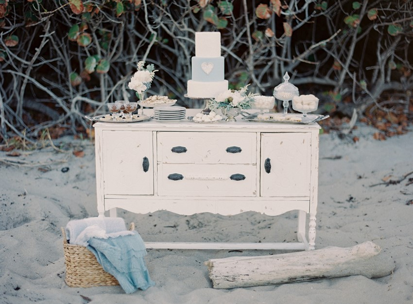 Beach Wedding Dessert Table - 'Sea of Love' A Heavenly Beach Wedding Inspiration from Melanie Gabrielle Photography