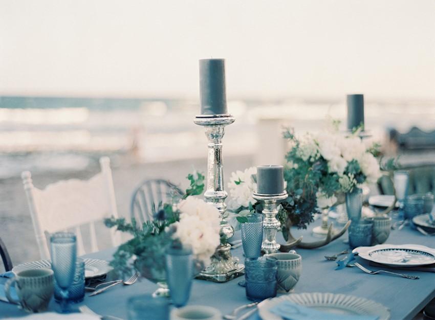 Beach Wedding tablescape - 'Sea of Love' A Heavenly Beach Wedding Inspiration from Melanie Gabrielle Photography