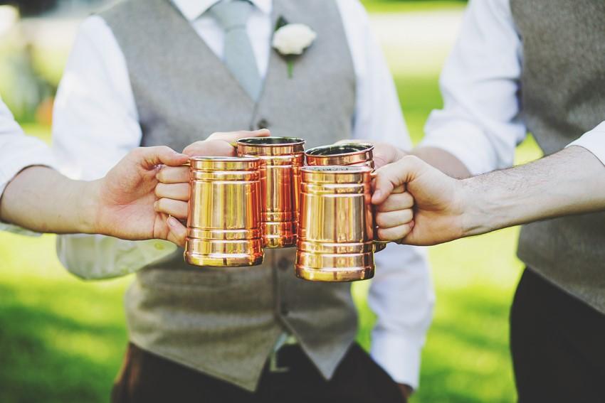 Vintage brass tankers for the groomsmen - A Vintage Garden Wedding