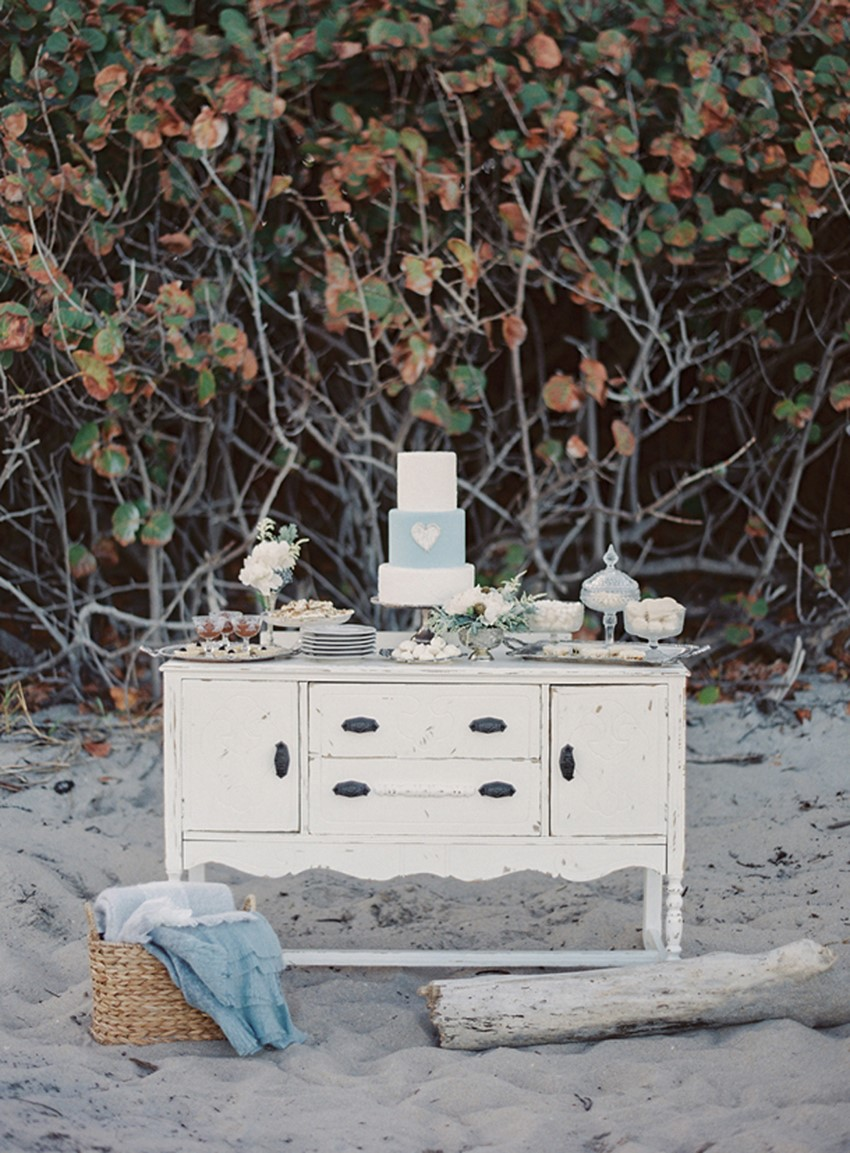 Beach Wedding Dessert Table - 'Sea of Love' A Heavenly Beach Wedding Inspiration from Melanie Gabrielle Photography