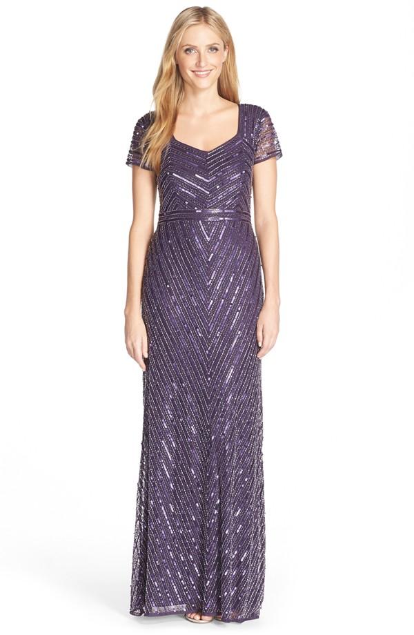 Art Deco Bridesmaid Dresses - Embellished LavenderMaxi Dress