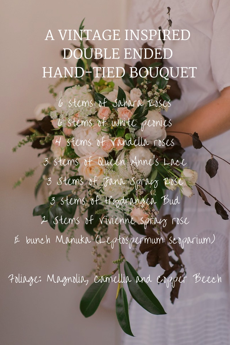 Bridal Bouquet Recipe ~ A Beautiful Vintage-Inspired Bridal Bouquet of Roses & Peonies