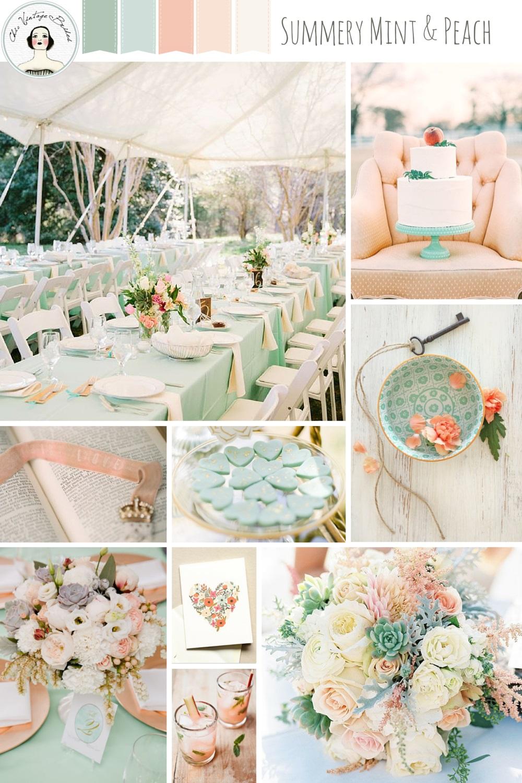 A Romantic Mint & Peach Wedding Inspiration Board