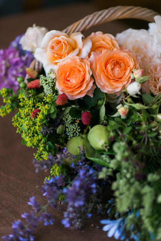 A Beautiful Just-Picked Summer Bridal Bouquet of Foraged Flowers & Fruits