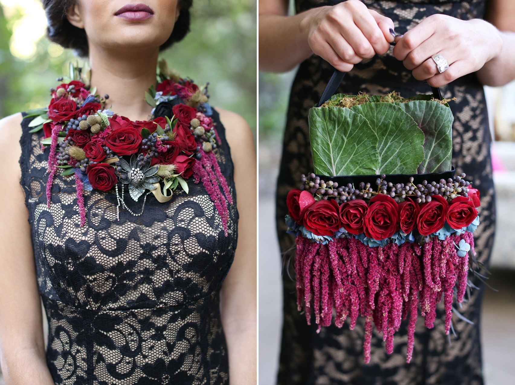 Floral Necklace & Handbag - Glamorous Wedding Inspiration with Opulent Fall Florals from Flora Fetish