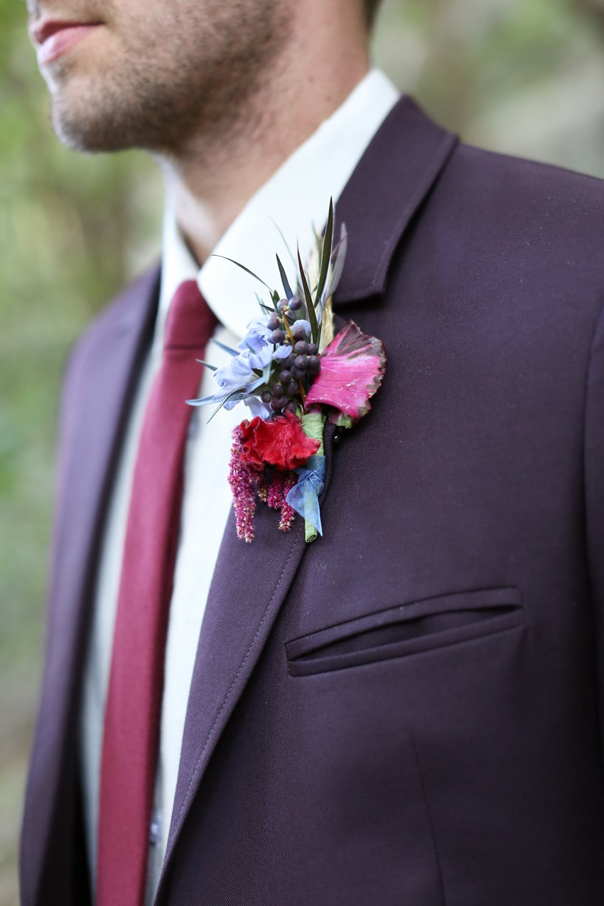 Boutonniere - Glamorous Wedding Inspiration with Opulent Fall Florals from Flora Fetish