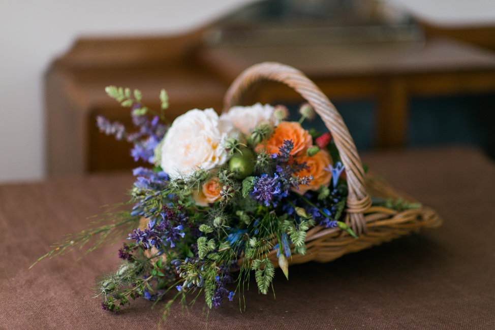 A Beautiful Just-Picked Summer Bouquet of Foraged Flowers & Fruits