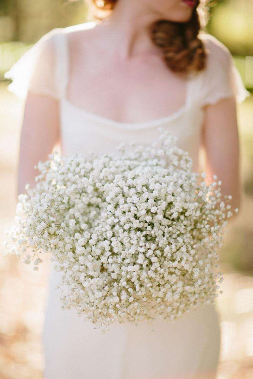 Babies Breath Bridal Bouquet - A Rustic Vintage Wedding Inspiration Shoot at Montrose Berry Farm