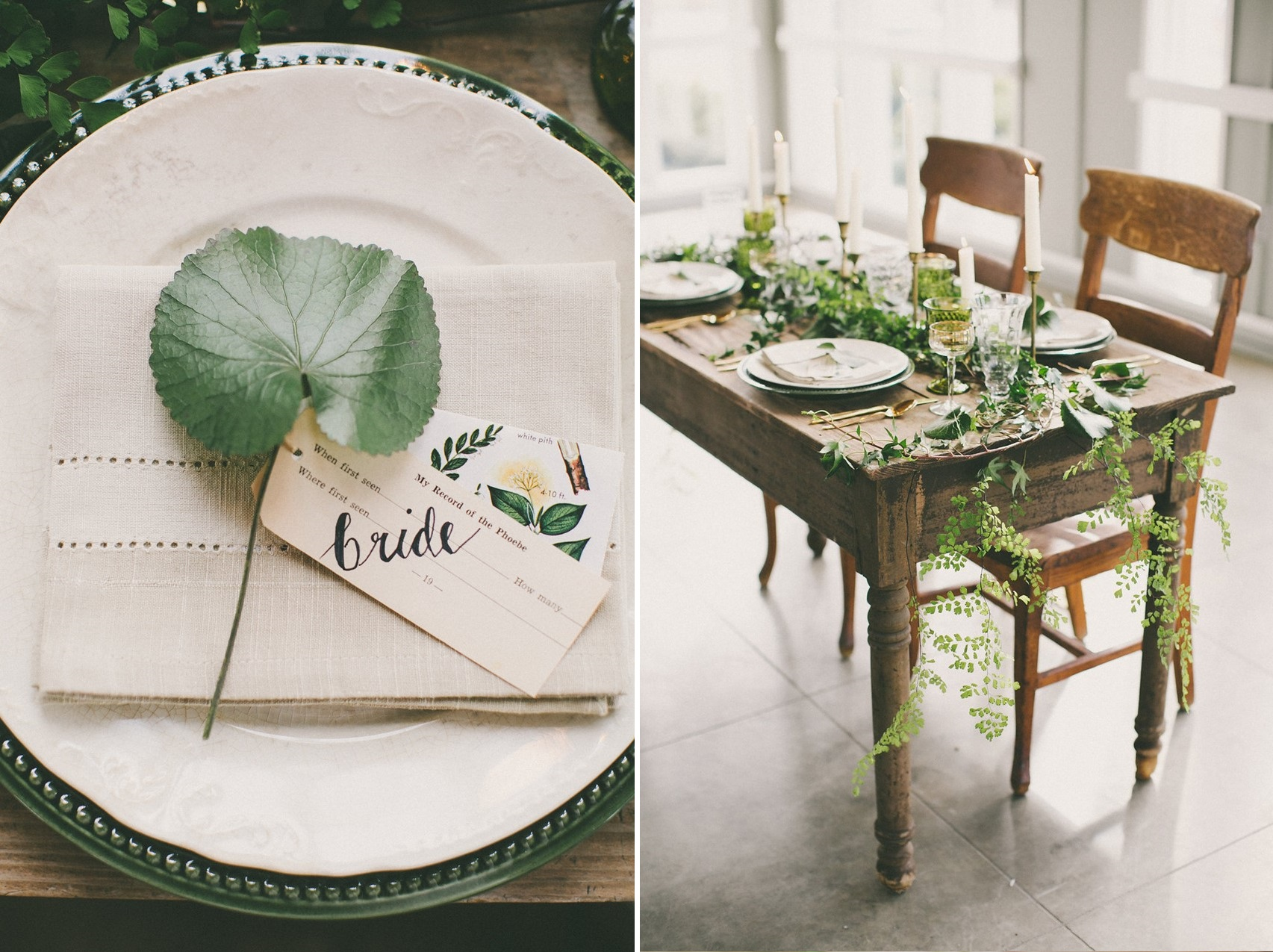 Green Wedding Tablescape - Beautiful Botanical Wedding Inspiration