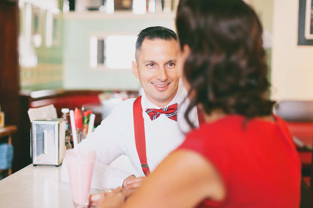 A Stylishly Retro Diner Engagement Shoot by Nicole Sarah Photography