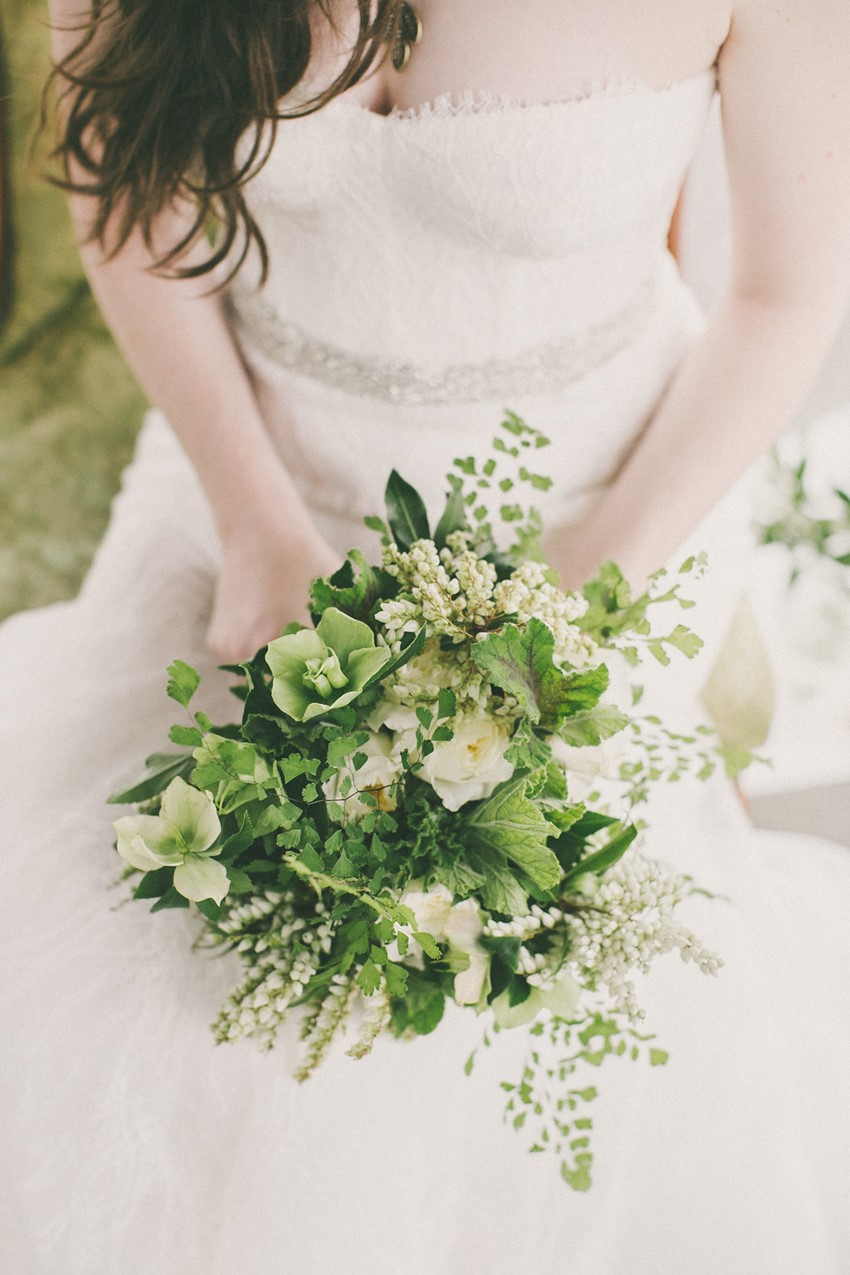 Green & White Bridal Bouquet - Beautiful Botanical Wedding InspirationBeautiful Botanical Wedding Inspiration