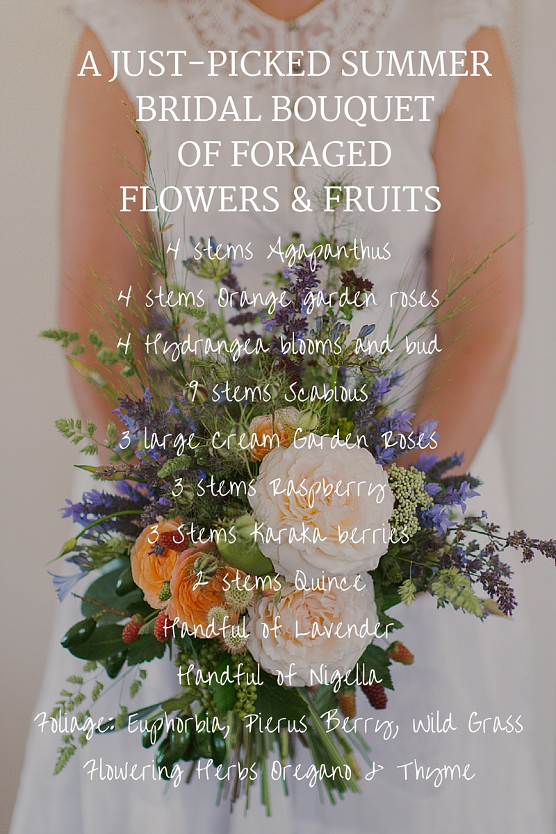 A Summer Bridal Bouquet of Foraged Flowers & Fruits