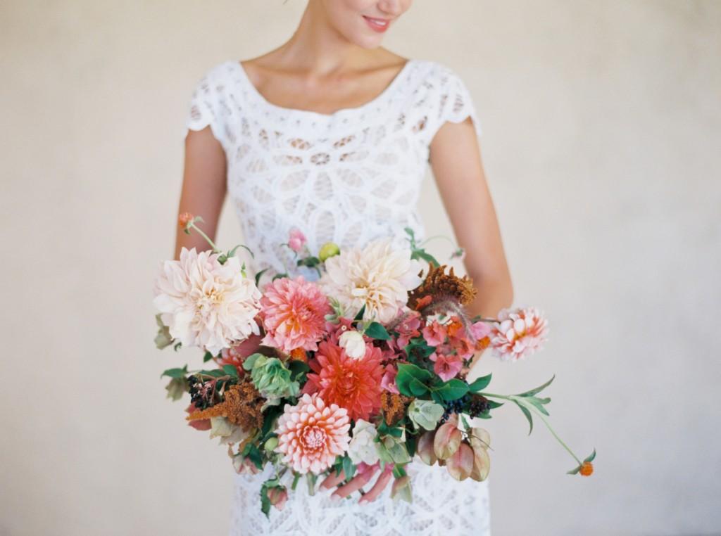 A Bridal Bouquet of Dahlias in Soft Autumn Shades