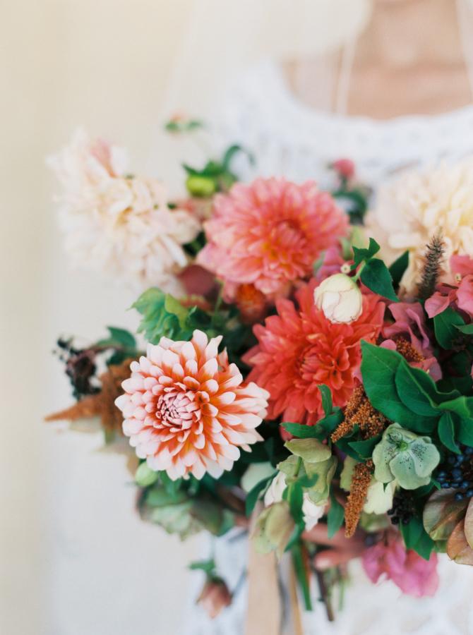 Wedding Bouquet Recipe ~ A Bridal Bouquet of Dahlias in Soft Autumn Shades