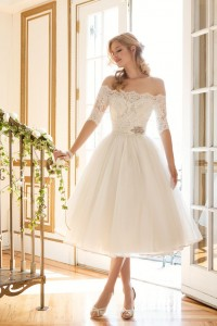 Vintage Wedding Dress - Justin Alexander Tea Length Lace Sleeve Wedding Dress