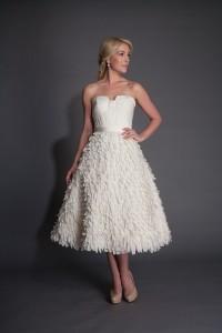 Vintage Wedding Dress - Modern Trousseau Tea Length Wedding Dress Scottie