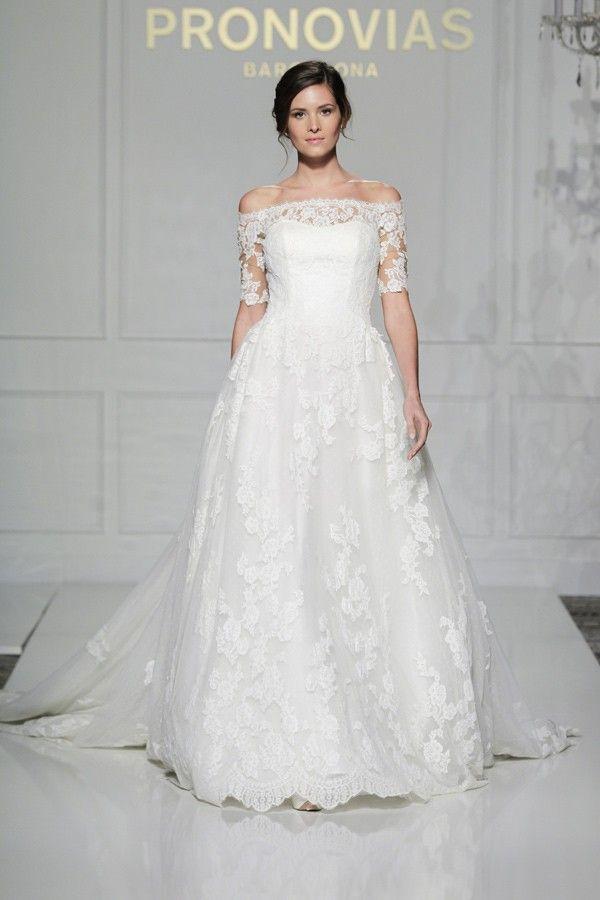 Vintage Wedding Dress - Pronovias Off Shoulder Wedding Dress Pleasant