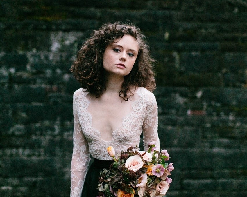 Long Sleeve Lace Bridal Top & Black Skirt - A Romantic Gothic Bridal Inspiration Shoot