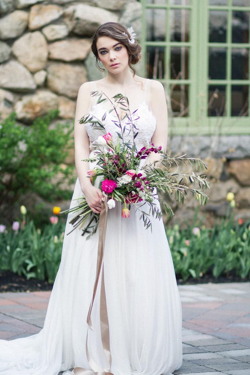 Fuchsia Foraged Bridal Bouquet - Romantic Al Fresco Wedding Ideas Inspired by Tuscany