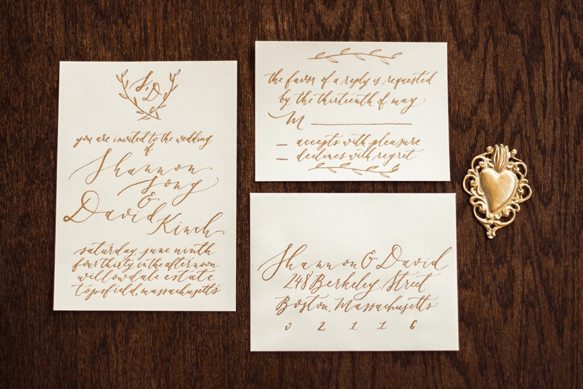 Gold Calligraphy Wedding Invites - Romantic Al Fresco Wedding Ideas Inspired by Tuscany
