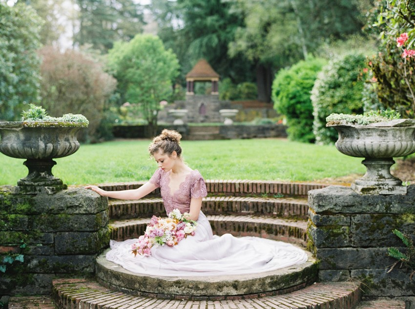 Purple Wedding Dress - Romantic Spring English Garden Wedding Inspiration