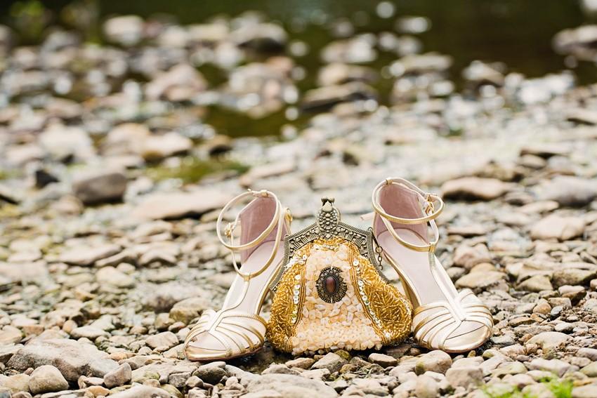 Gold Bridal Shoes - A Dreamy 'A River Runs Through It' Inspired Wedding Shoot